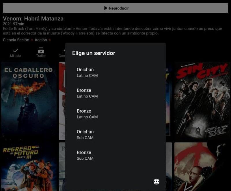Ventana de vista previa de una película en PlayHub Plus mostrando el modal para seleccionar un servidor.