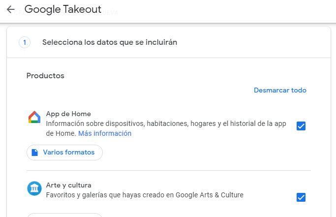 "Opción ""Desmarcar todo"" de Google Takeout."