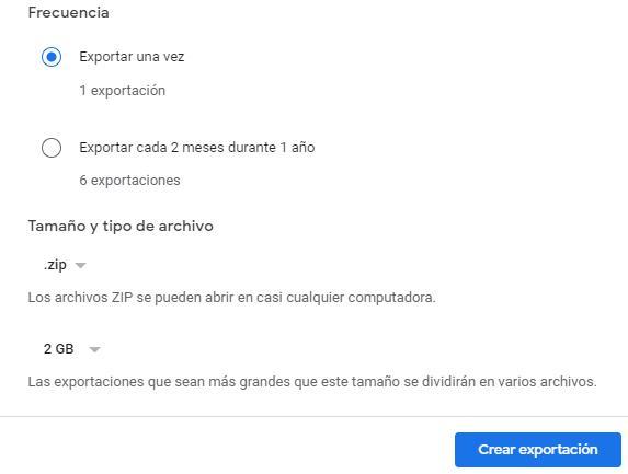 """Botón """"Crear exportación"""" de la ventana para seleccionar las propiedades del archivo comprimido que va a ser generado por Google Takeout."""
