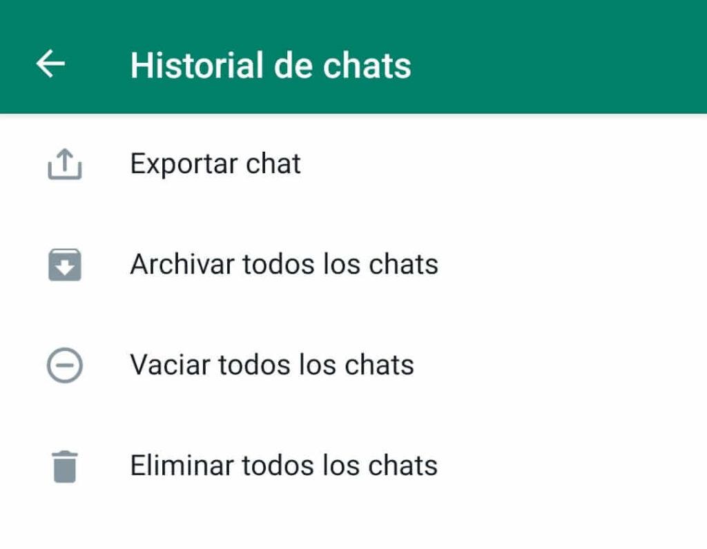 eliminar todos los datos de whatsapp